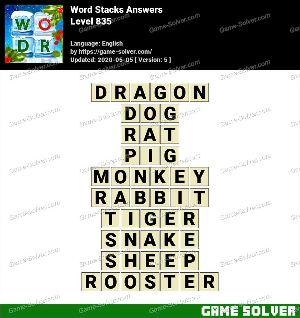 Word Stacks Level 835 Answers