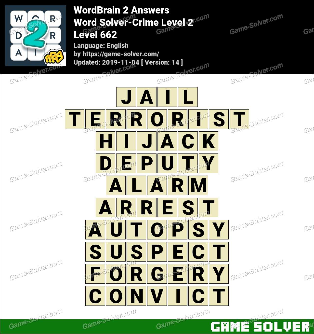 Word Solver Crime Level 2 Answers
