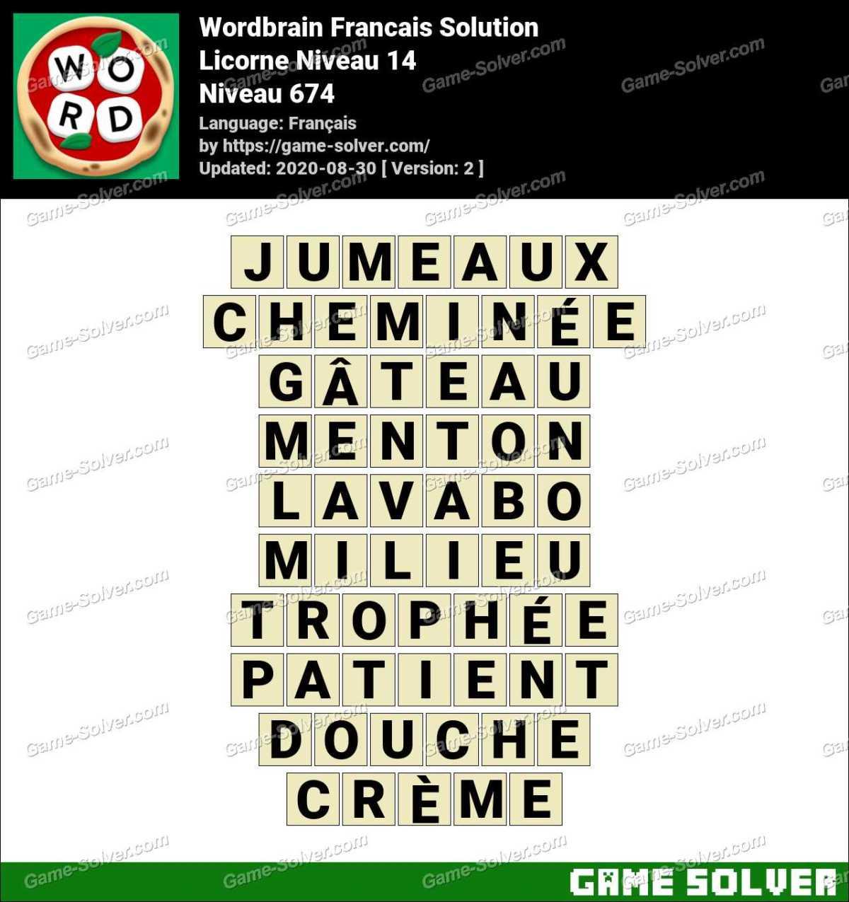 WordBrain Français Licorne Niveau 14