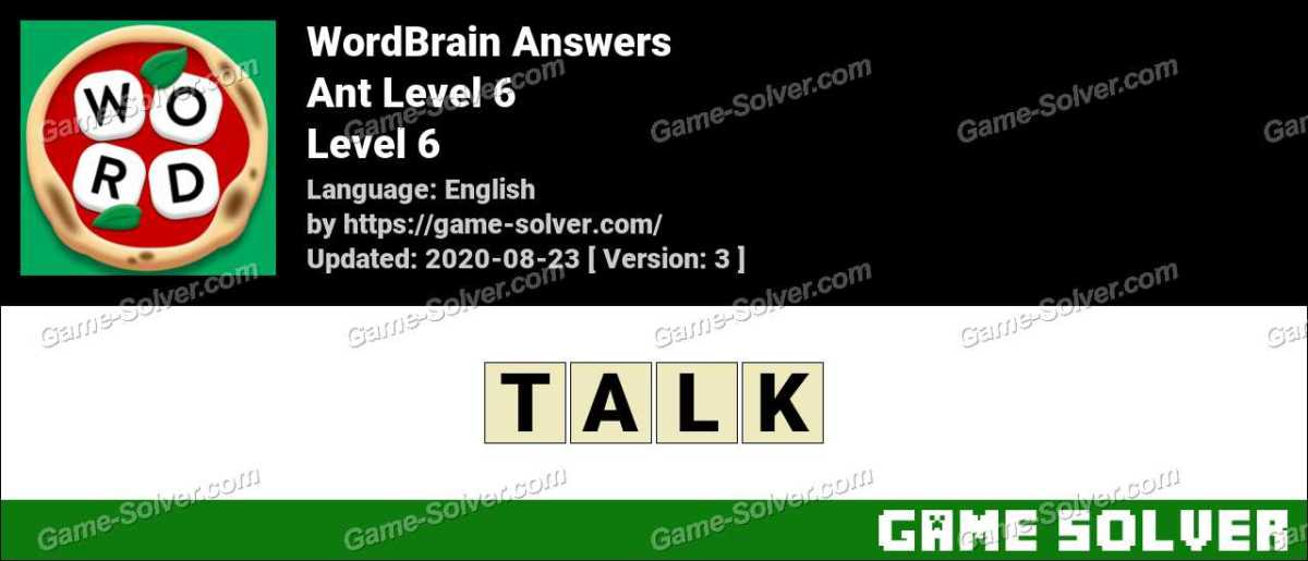 WordBrain Ant Level 6 Answers