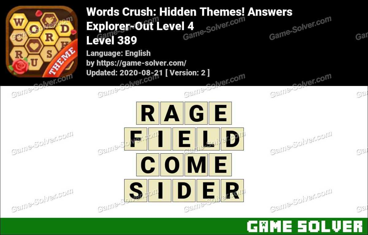 Words Crush Explorer-Out Level 4 Answers