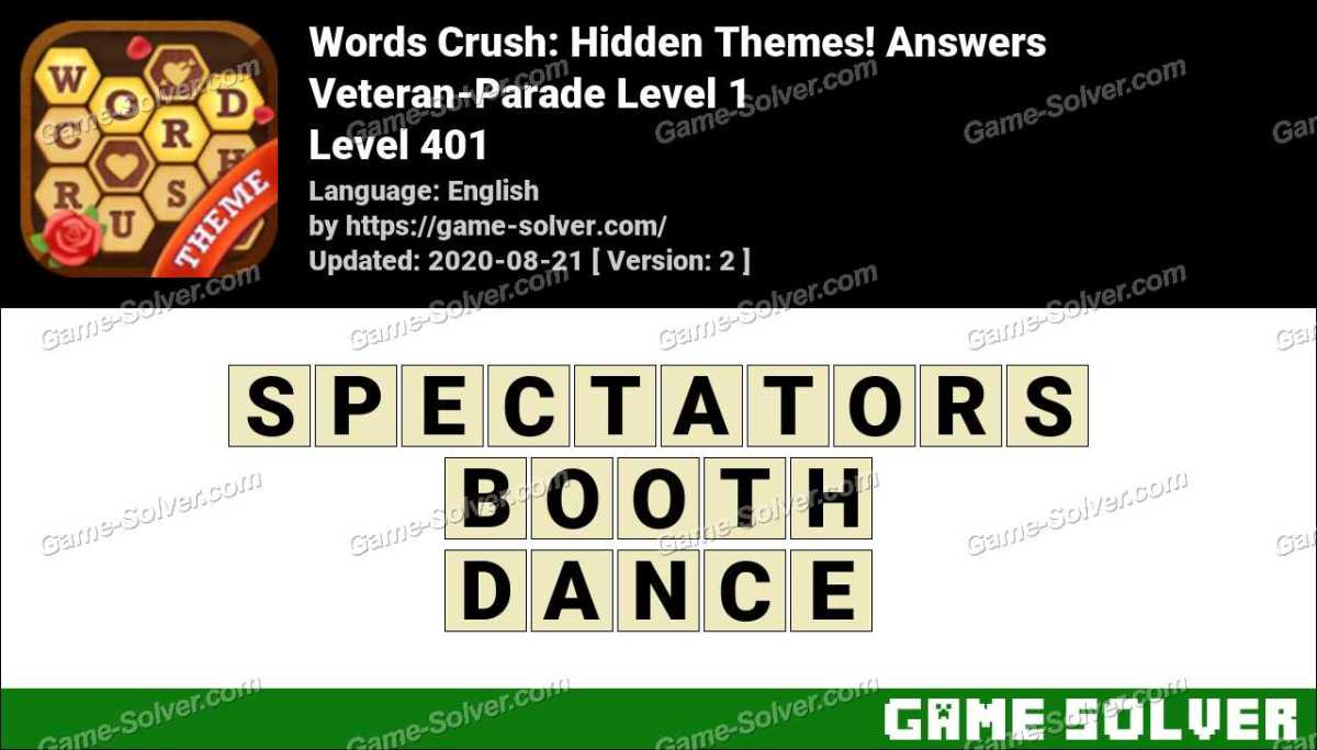 Words Crush Veteran-Parade Level 1 Answers