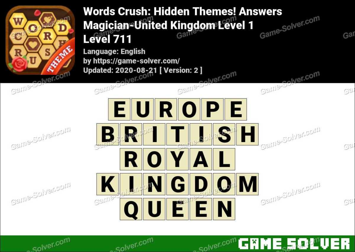 Words Crush Magician-United Kingdom Level 1 Answers