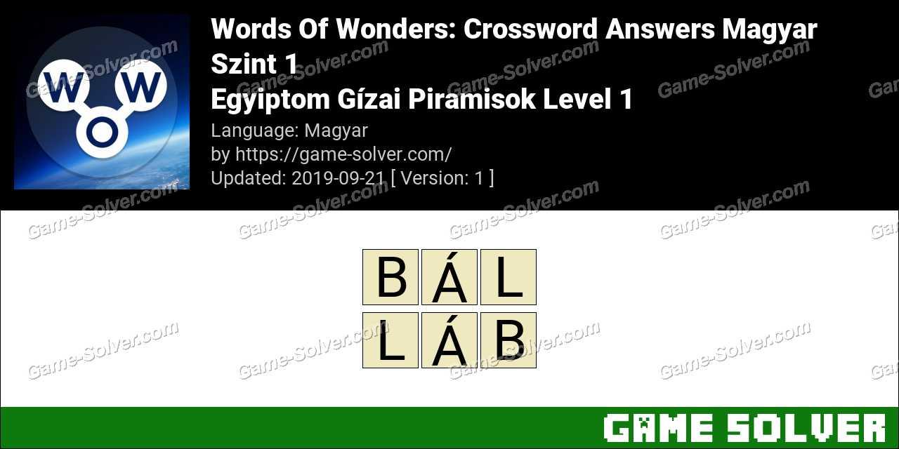 Words Of Wonders Egyiptom Gízai Piramisok Level 1 Answers