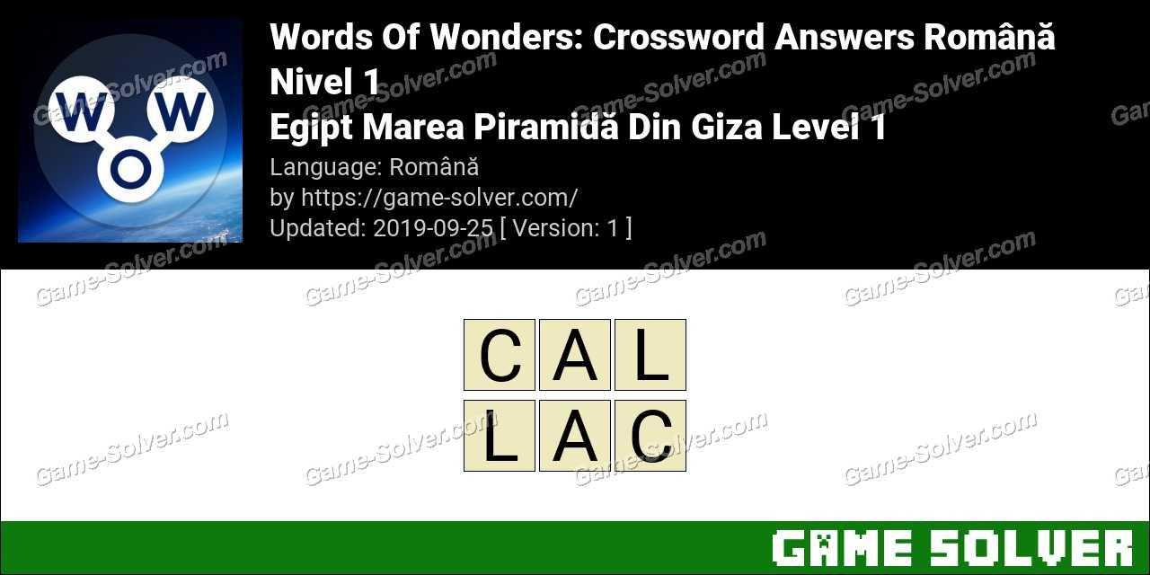 Words Of Wonders Egipt Marea Piramidă Din Giza Level 1 Answers