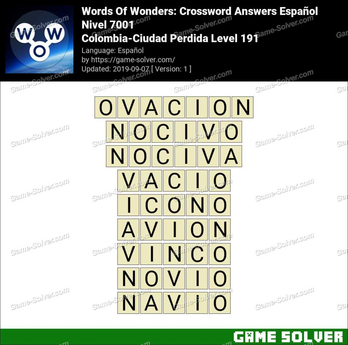 Words Of Wonders Colombia-Ciudad Perdida Level 191 Answers