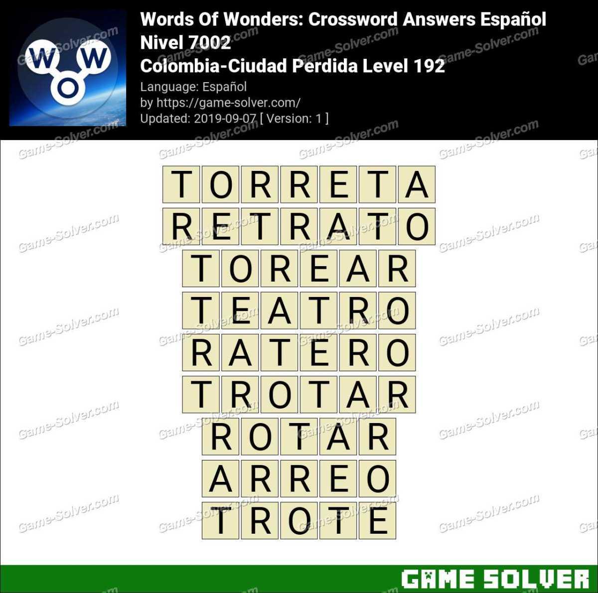 Words Of Wonders Colombia-Ciudad Perdida Level 192 Answers