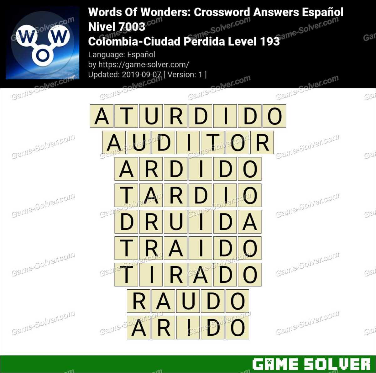Words Of Wonders Colombia-Ciudad Perdida Level 193 Answers