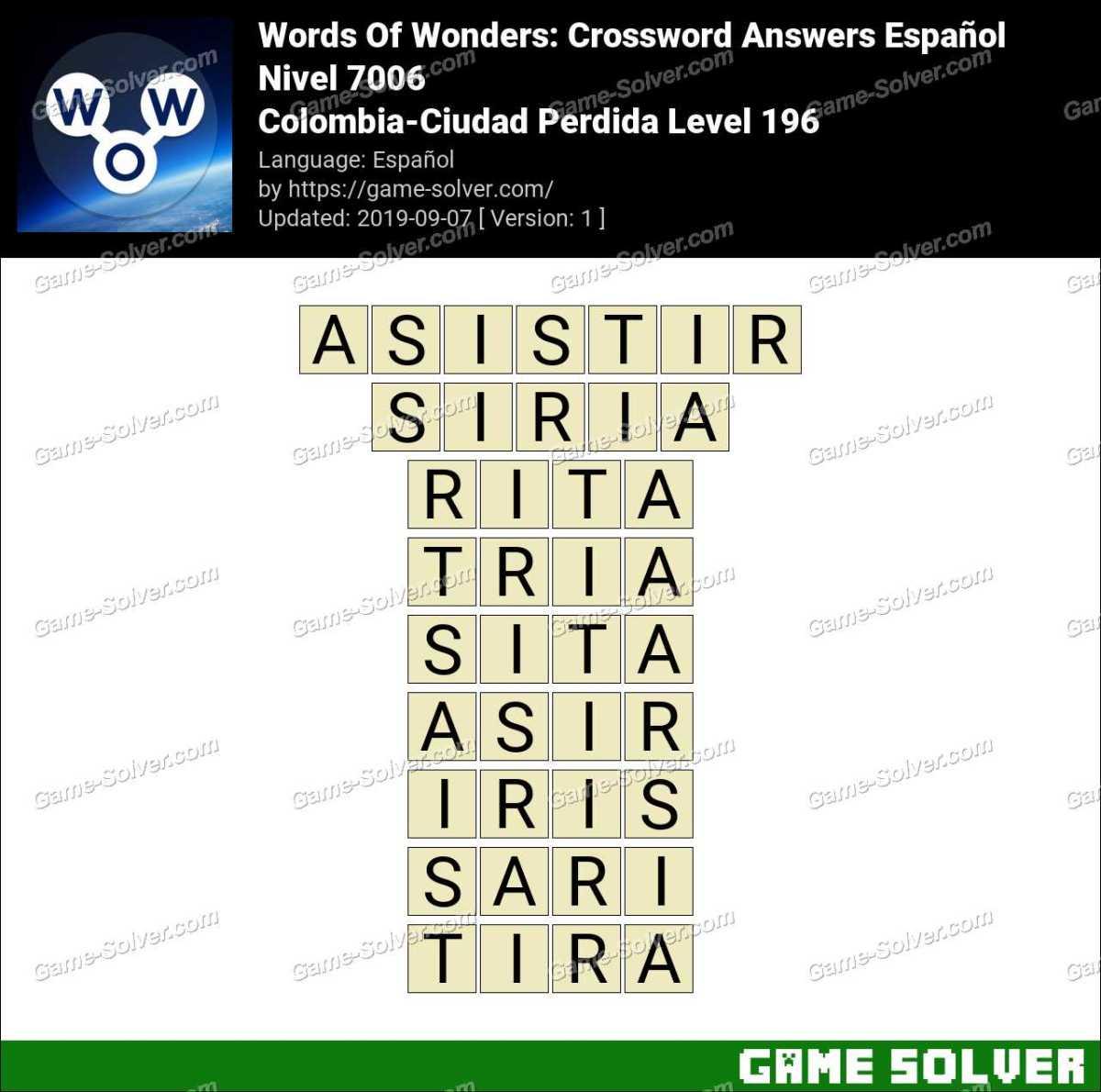 Words Of Wonders Colombia-Ciudad Perdida Level 196 Answers