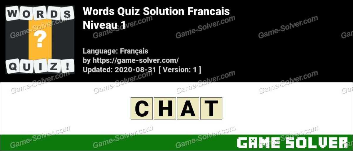 Words Quiz Francais Niveau 1