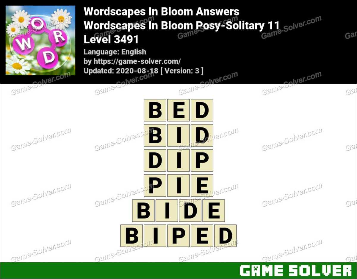 Wordscapes In Bloom Posy-Solitary 11 Answers