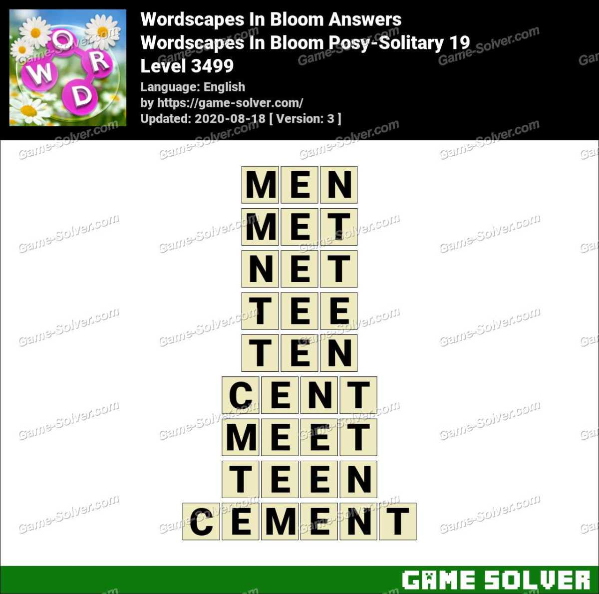 Wordscapes In Bloom Posy-Solitary 19 Answers