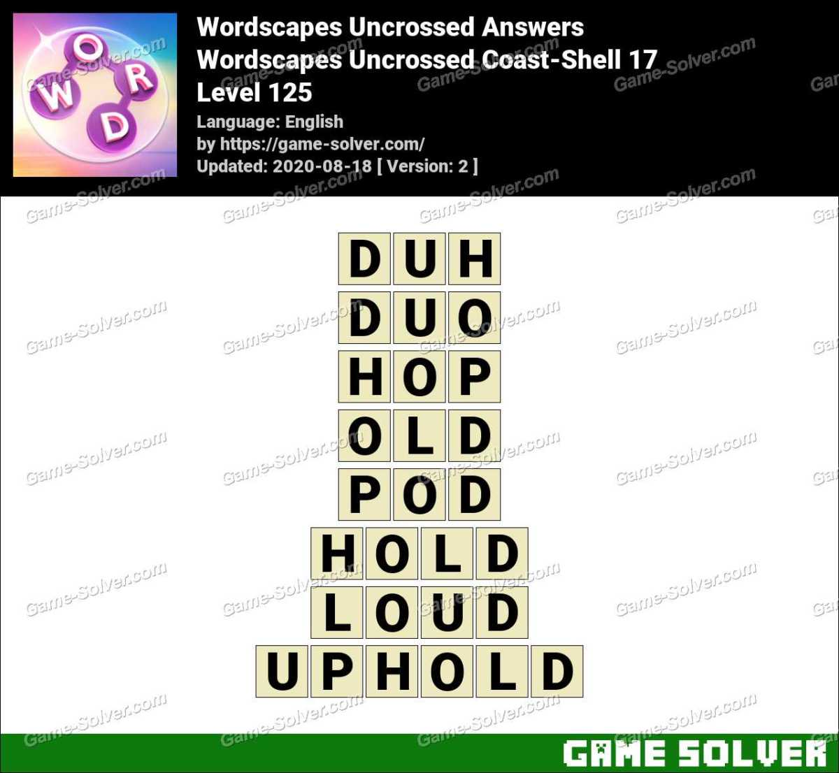 Wordscapes Uncrossed Coast-Shell 17 Answers