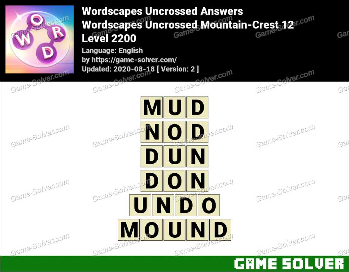 Wordscapes Uncrossed Mountain-Crest 12 Answers