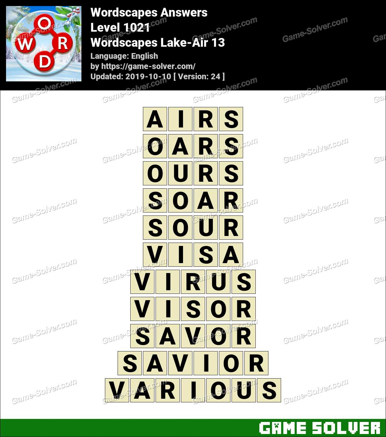 Wordscapes Lake-Air 13 Answers