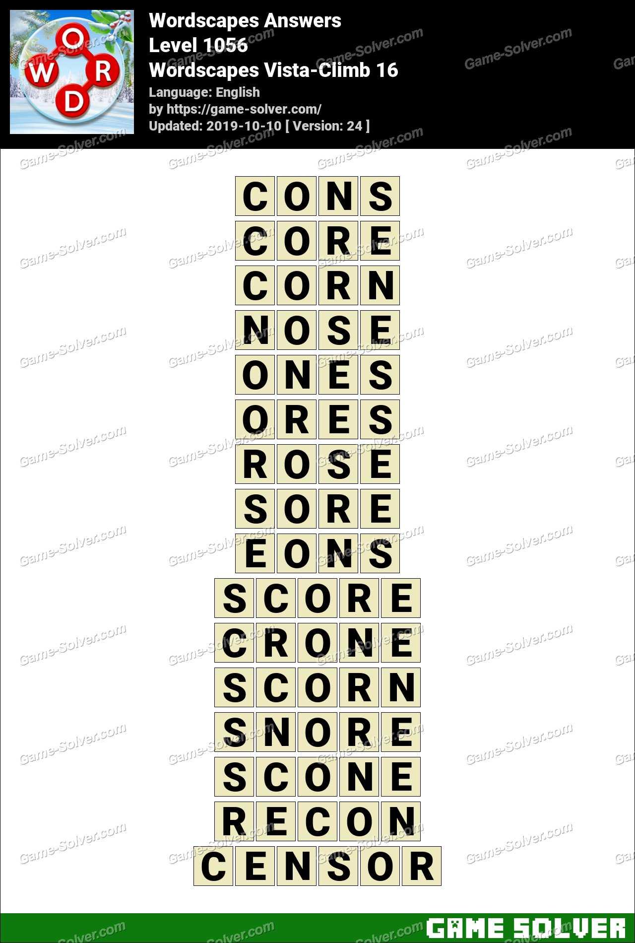 Wordscapes Vista-Climb 16 Answers