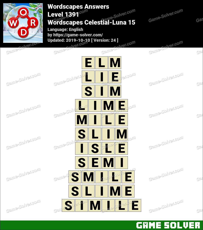 Wordscapes Celestial-Luna 15 Answers