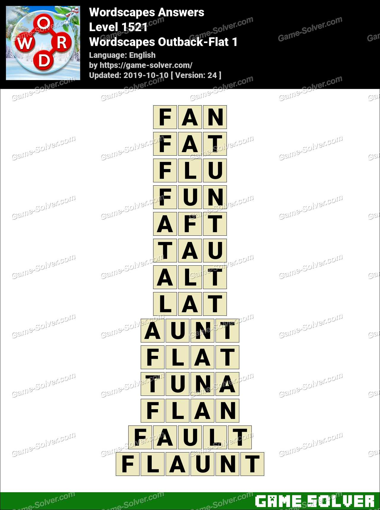 Wordscapes Outback-Flat 1 Answers