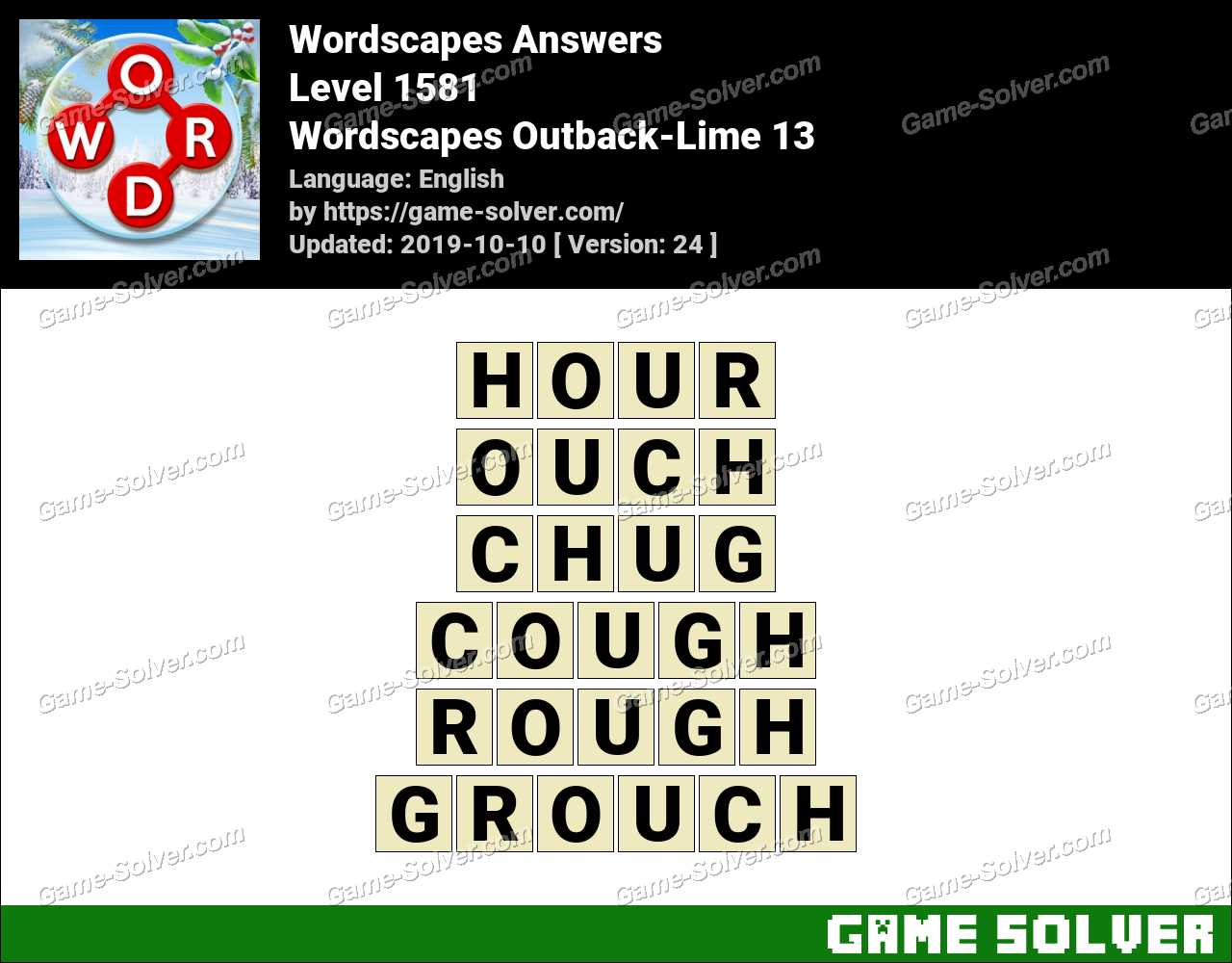 Wordscapes Outback-Lime 13 Answers