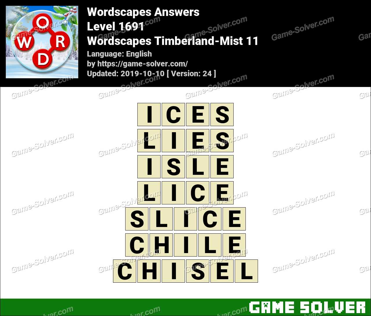 Wordscapes Timberland-Mist 11 Answers
