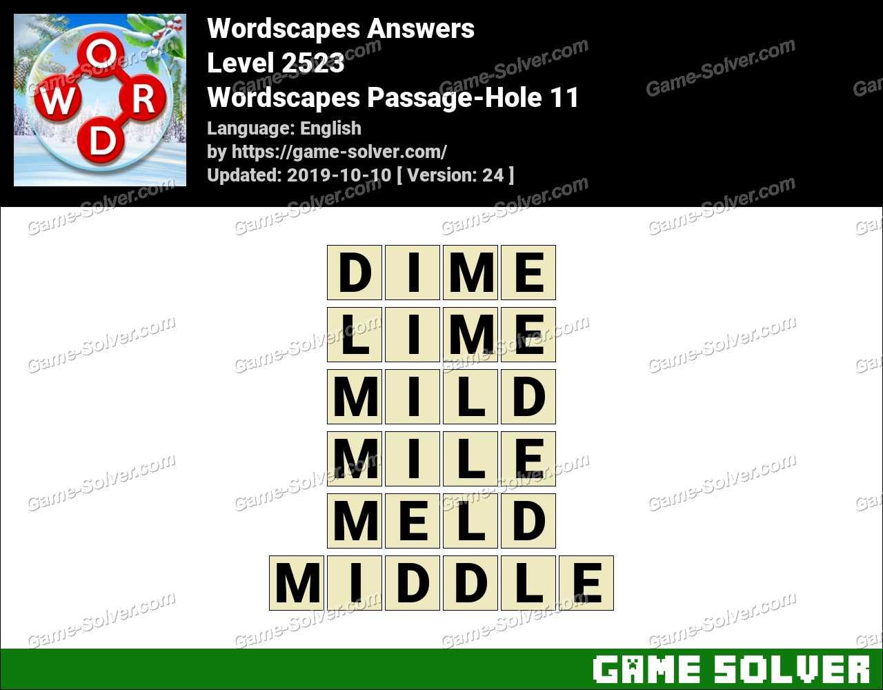 Wordscapes Passage-Hole 11 Answers
