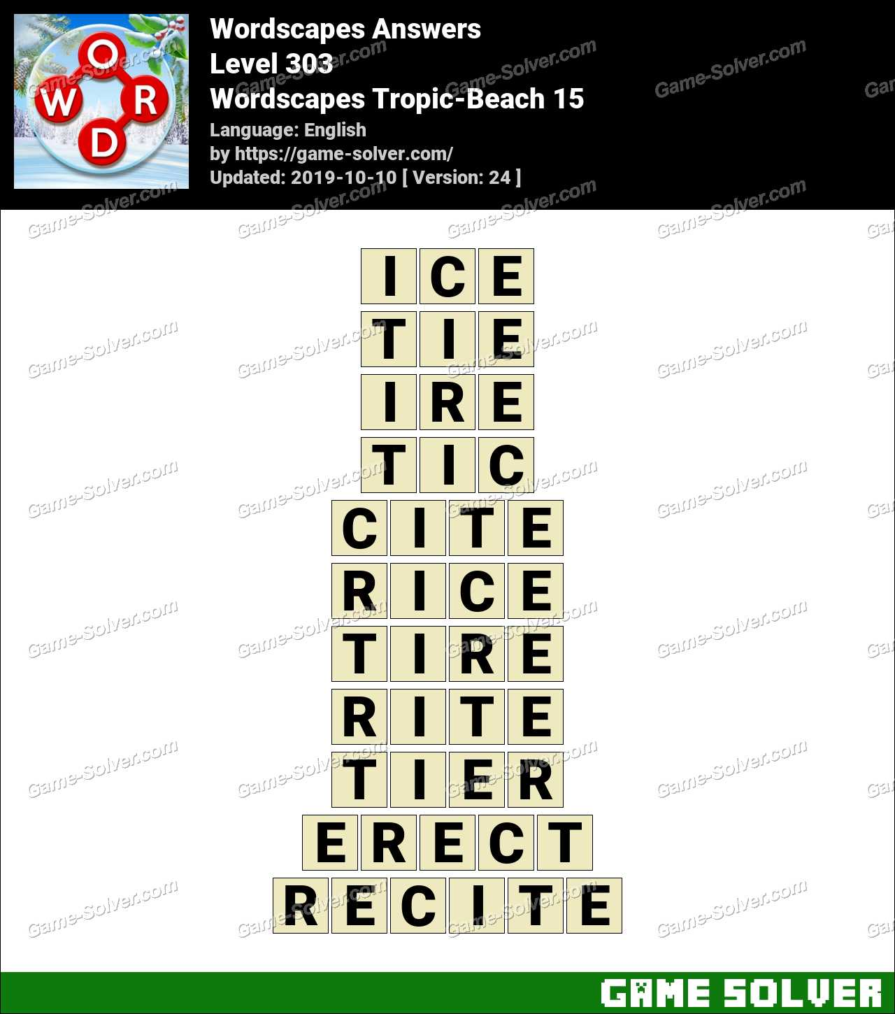 Wordscapes Tropic-Beach 15 Answers