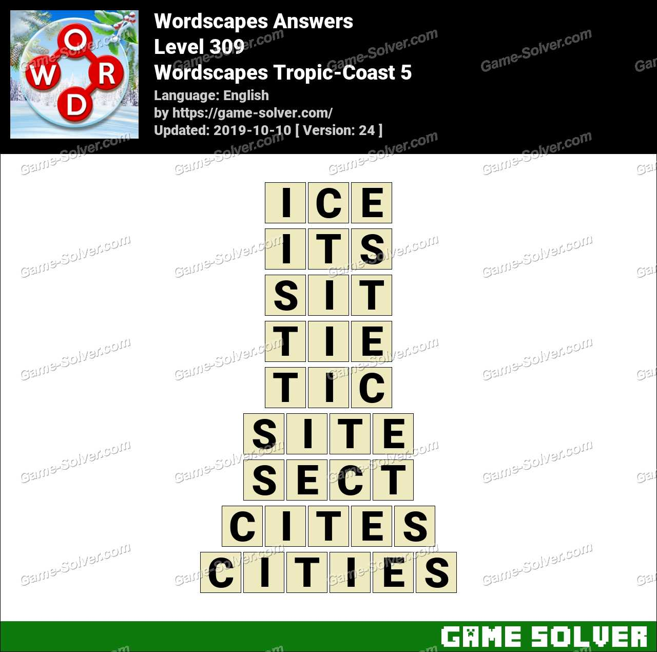 Wordscapes Tropic-Coast 5 Answers