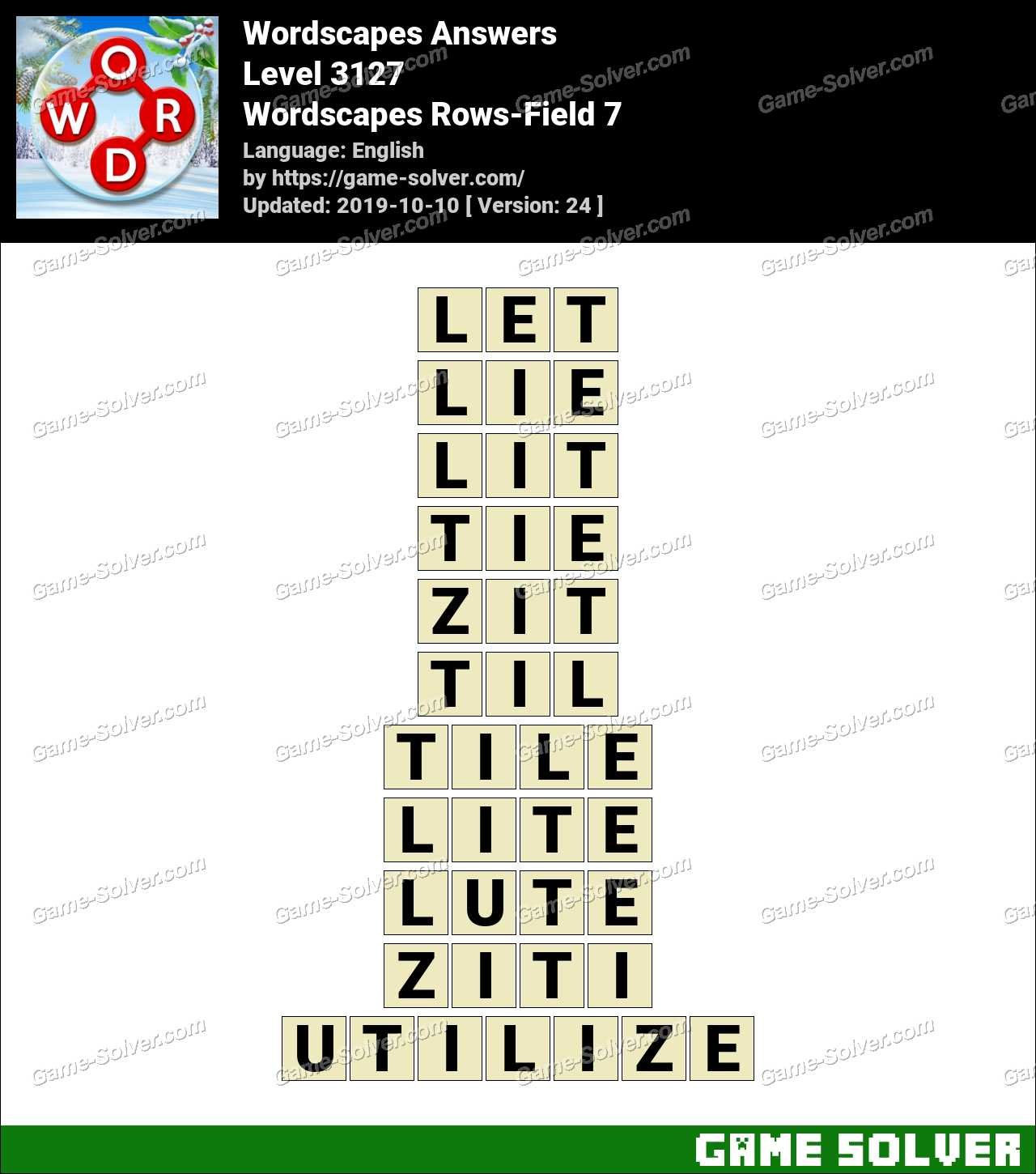 Wordscapes Rows-Field 7 Answers