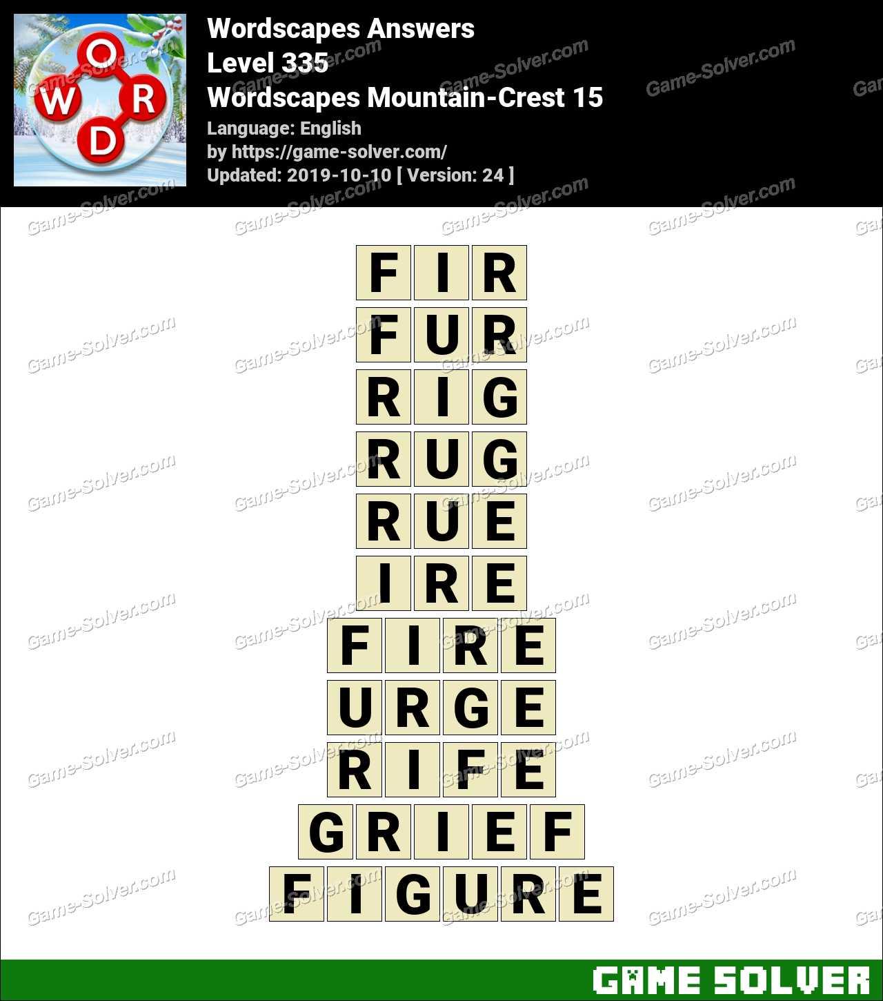 Wordscapes Mountain-Crest 15 Answers