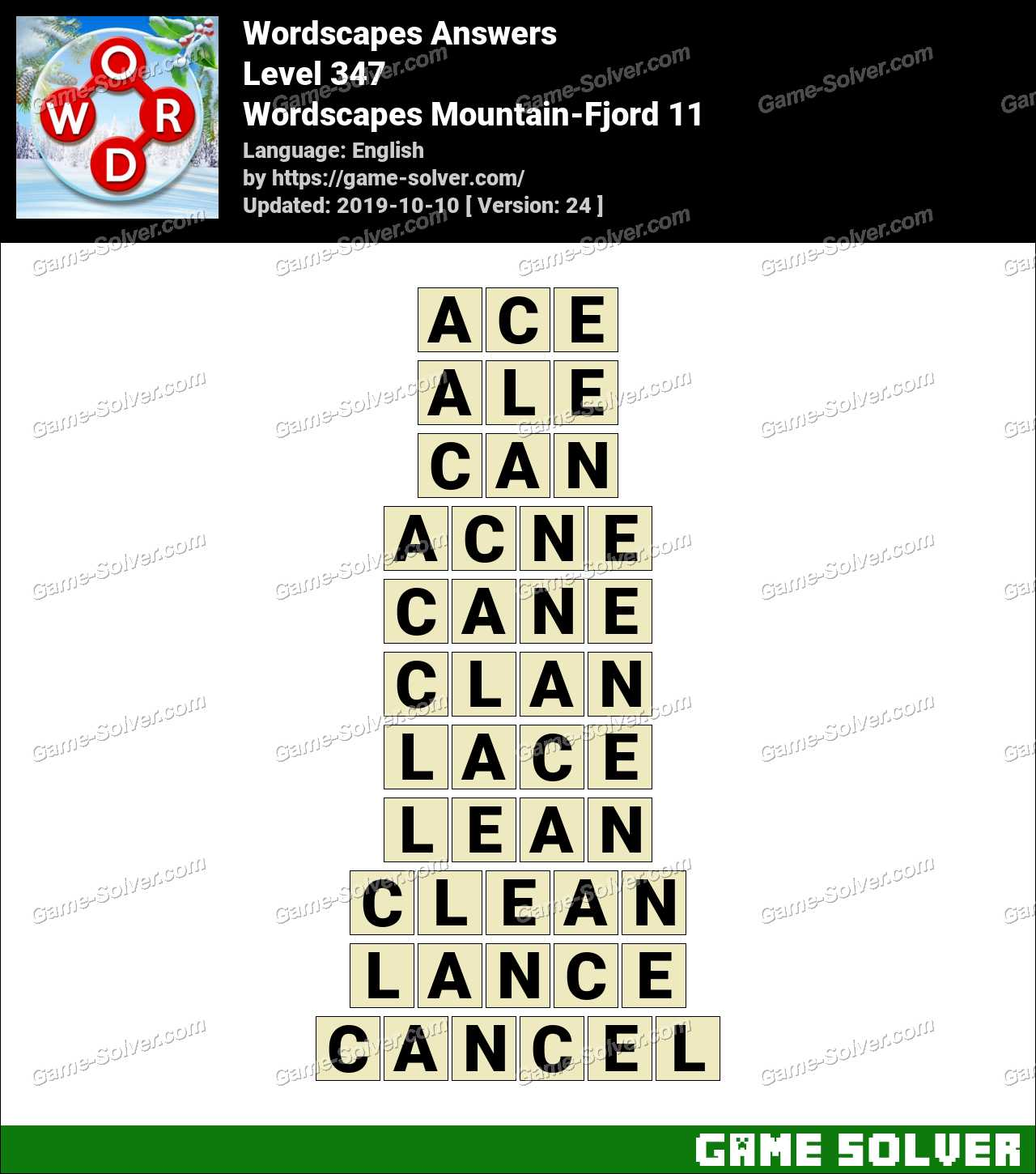 Wordscapes Mountain-Fjord 11 Answers