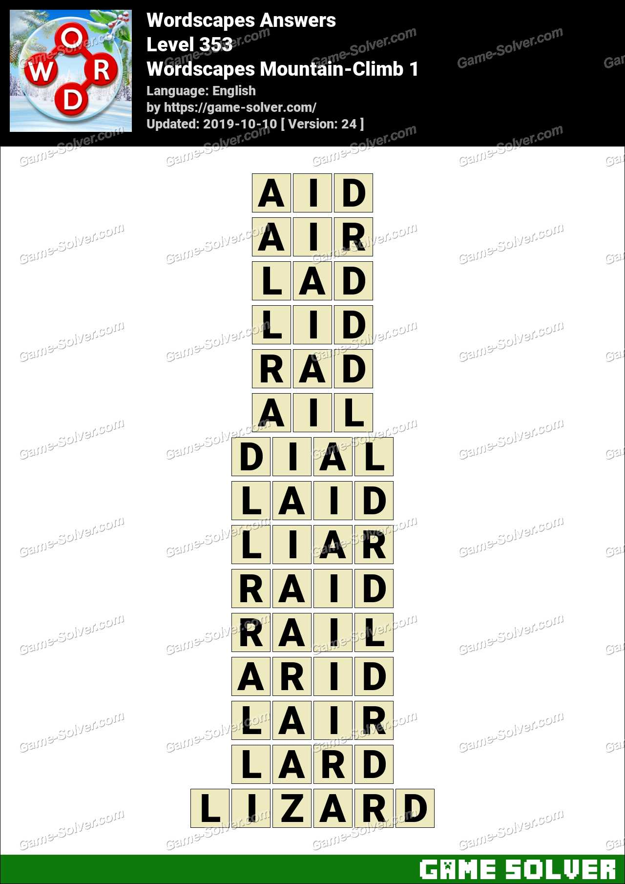 Wordscapes Mountain-Climb 1 Answers