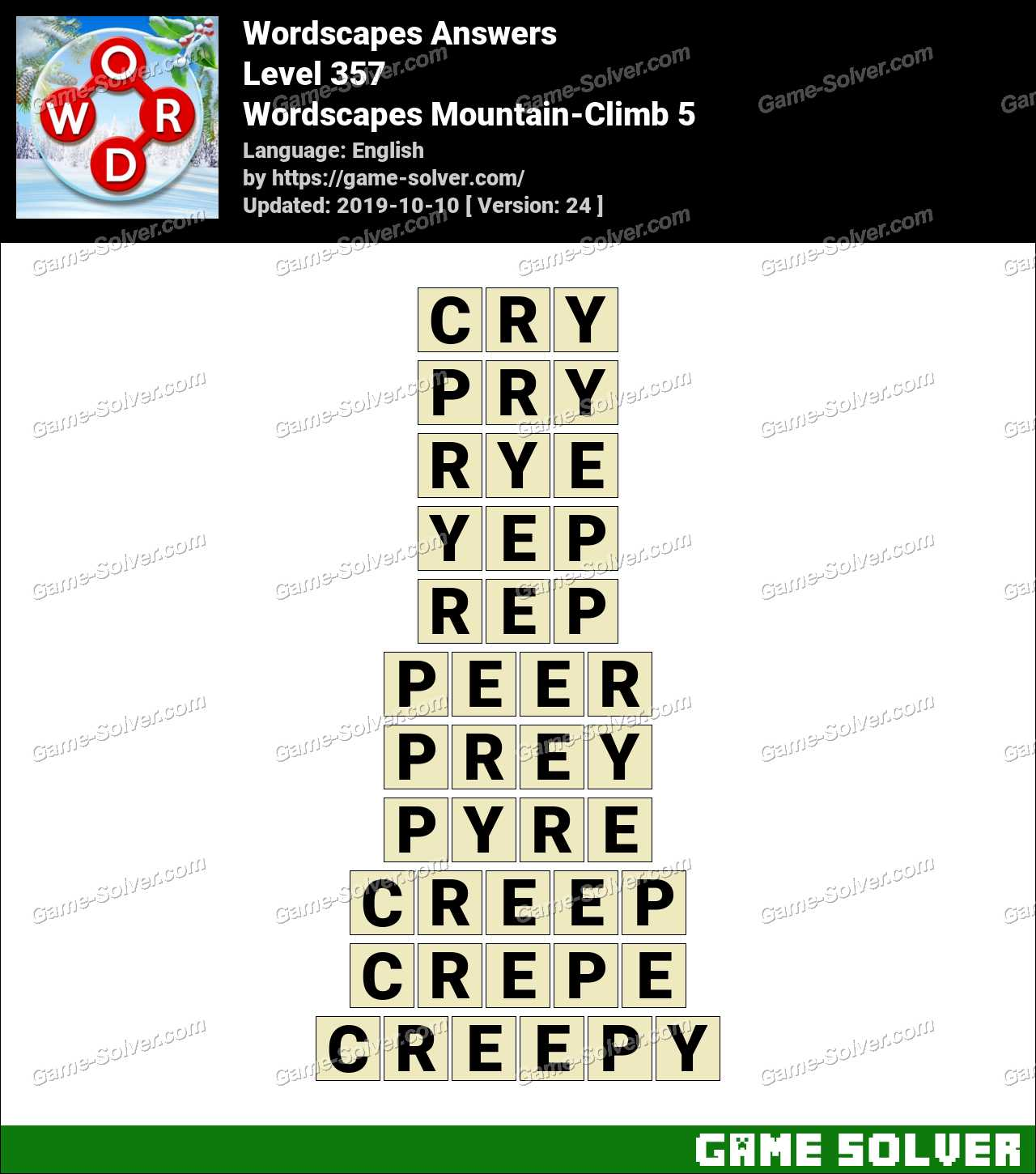 Wordscapes Mountain-Climb 5 Answers