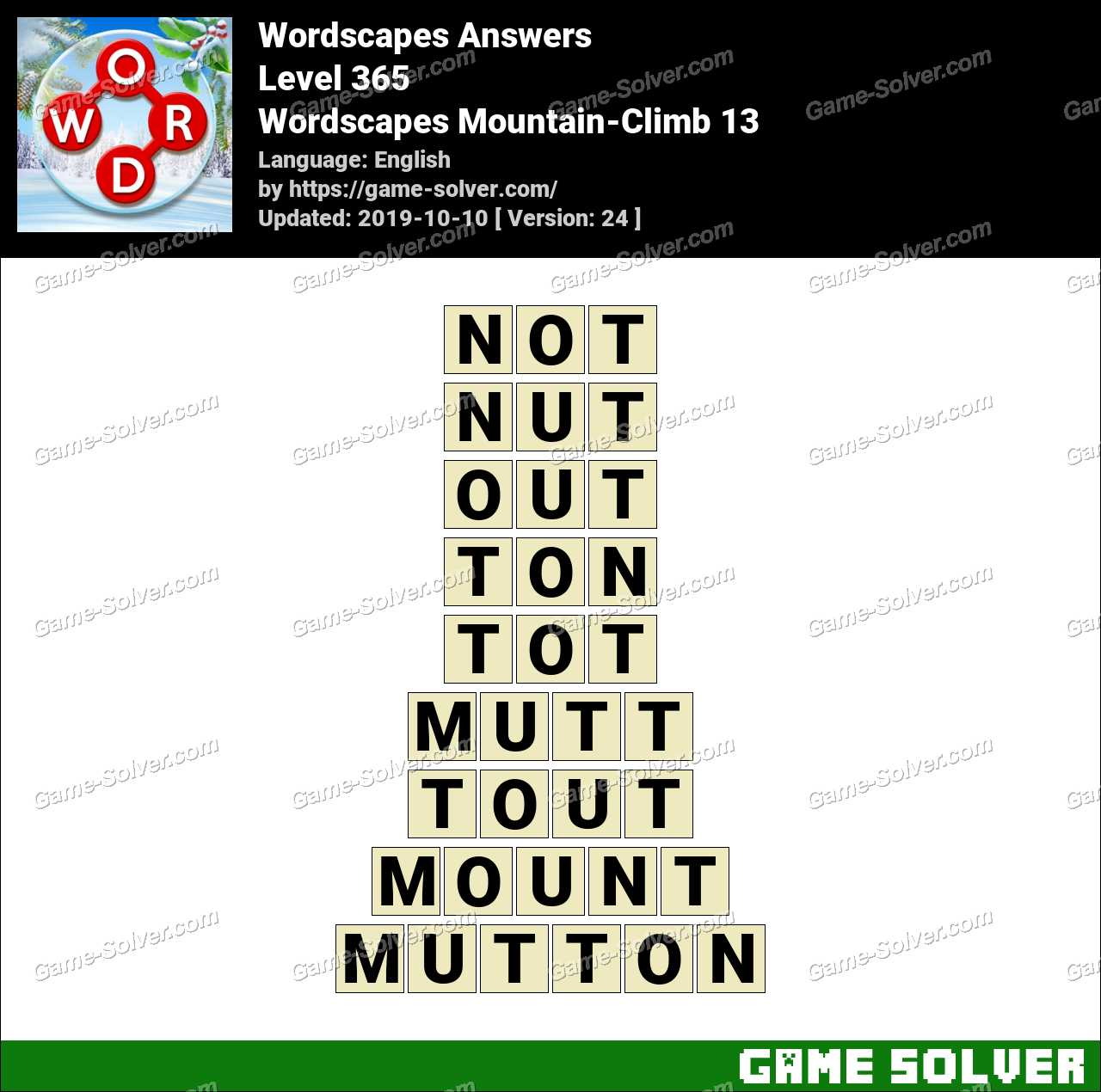 Wordscapes Mountain-Climb 13 Answers