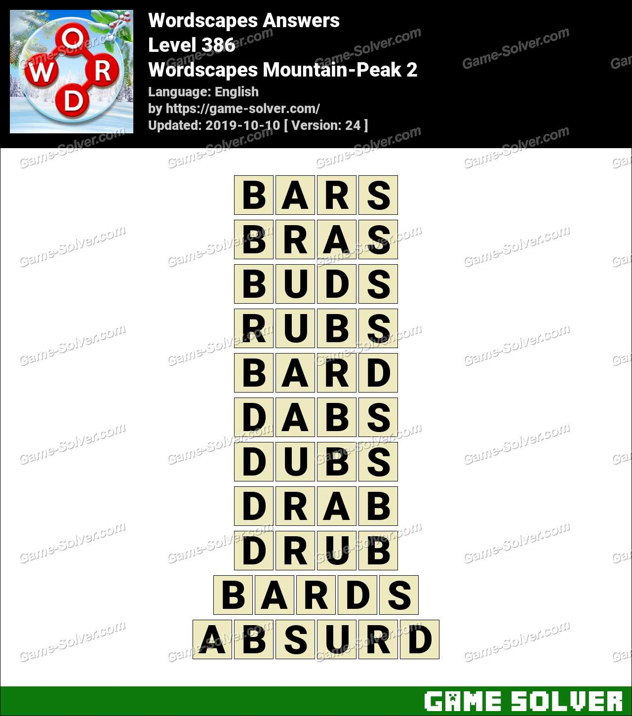 Wordscapes Mountain-Peak 2 Answers