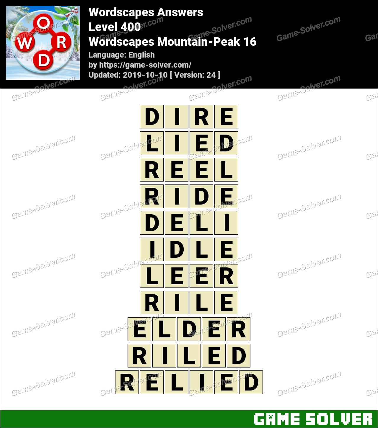Wordscapes Mountain-Peak 16 Answers