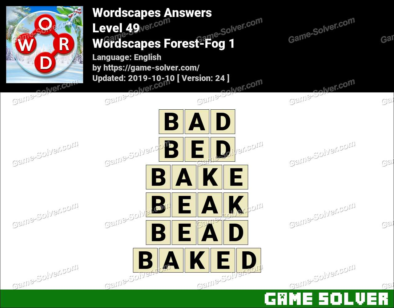 Wordscapes Forest-Fog 1 Answers