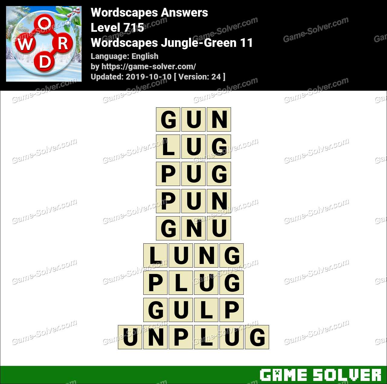 Wordscapes Jungle-Green 11 Answers