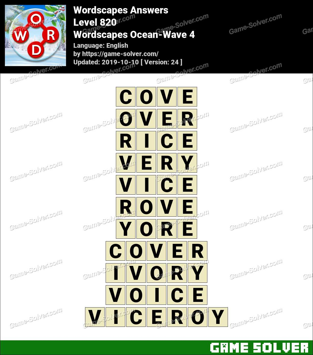 Wordscapes Ocean-Wave 4 Answers