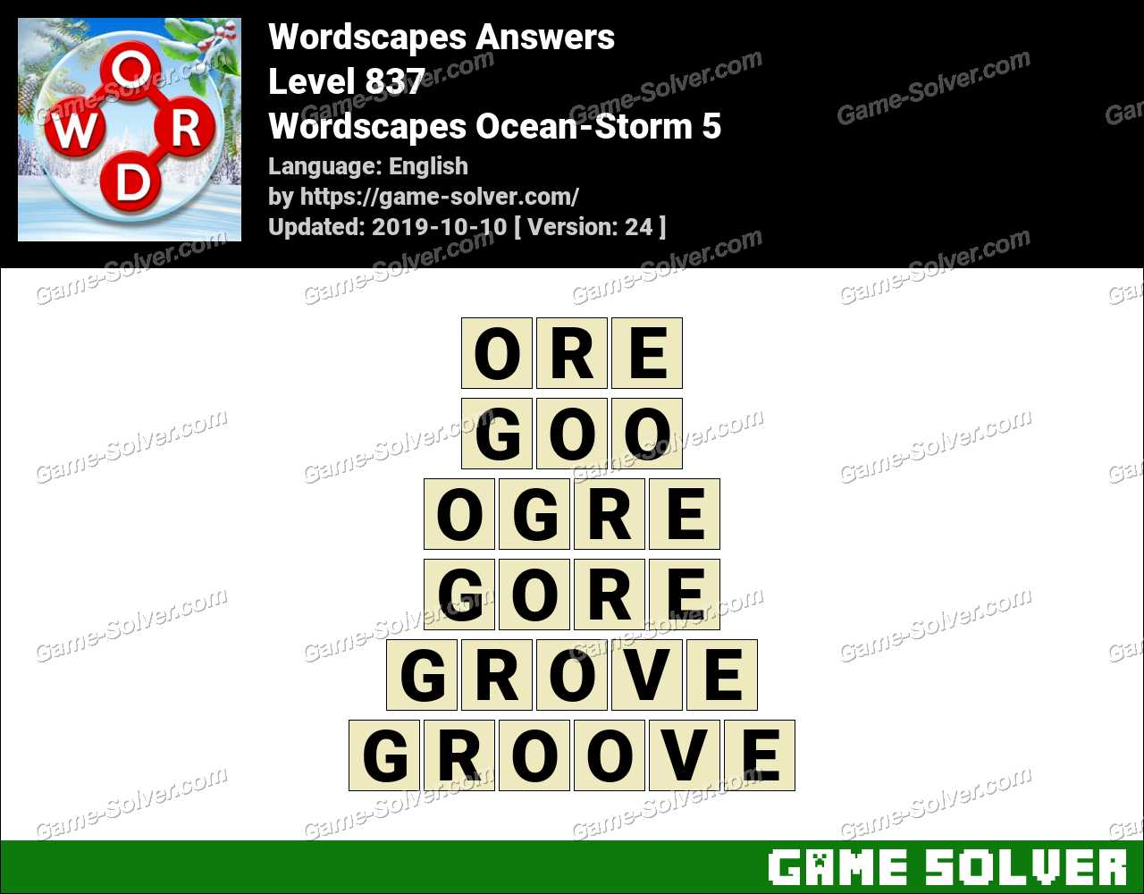 Wordscapes Ocean-Storm 5 Answers