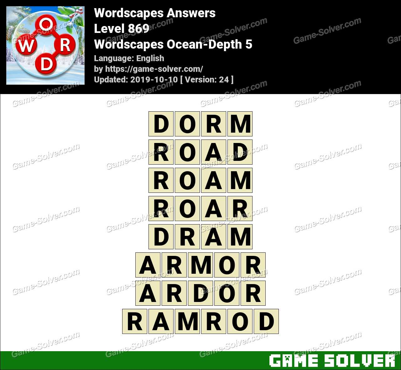 Wordscapes Ocean-Depth 5 Answers