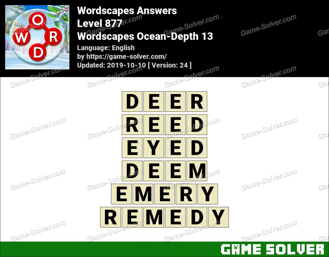 Wordscapes Ocean-Depth 13 Answers