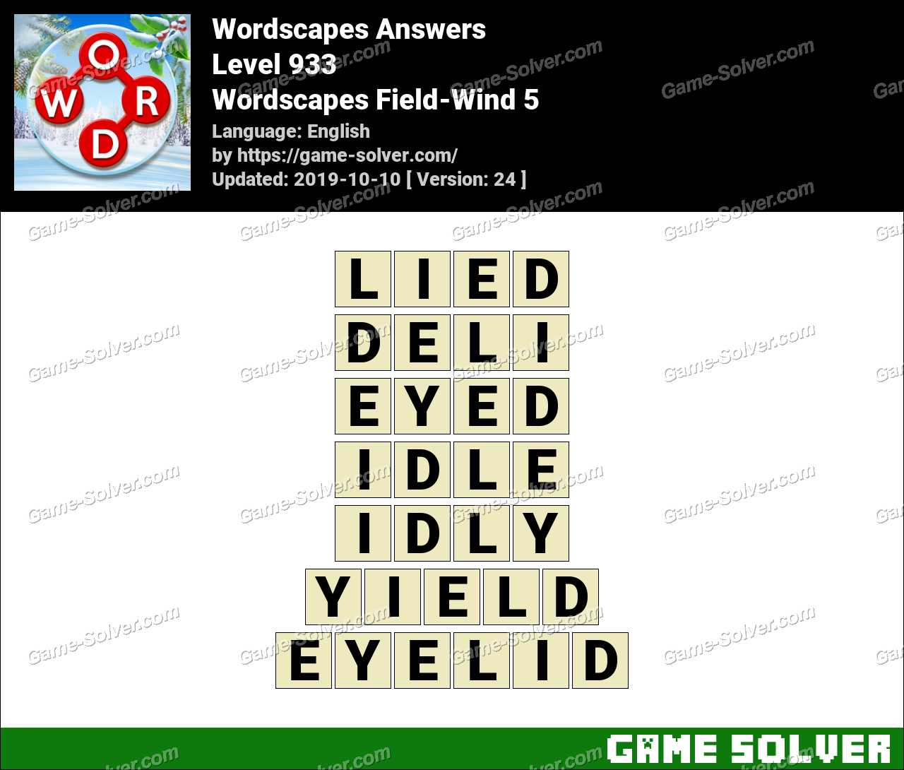 Wordscapes Field-Wind 5 Answers
