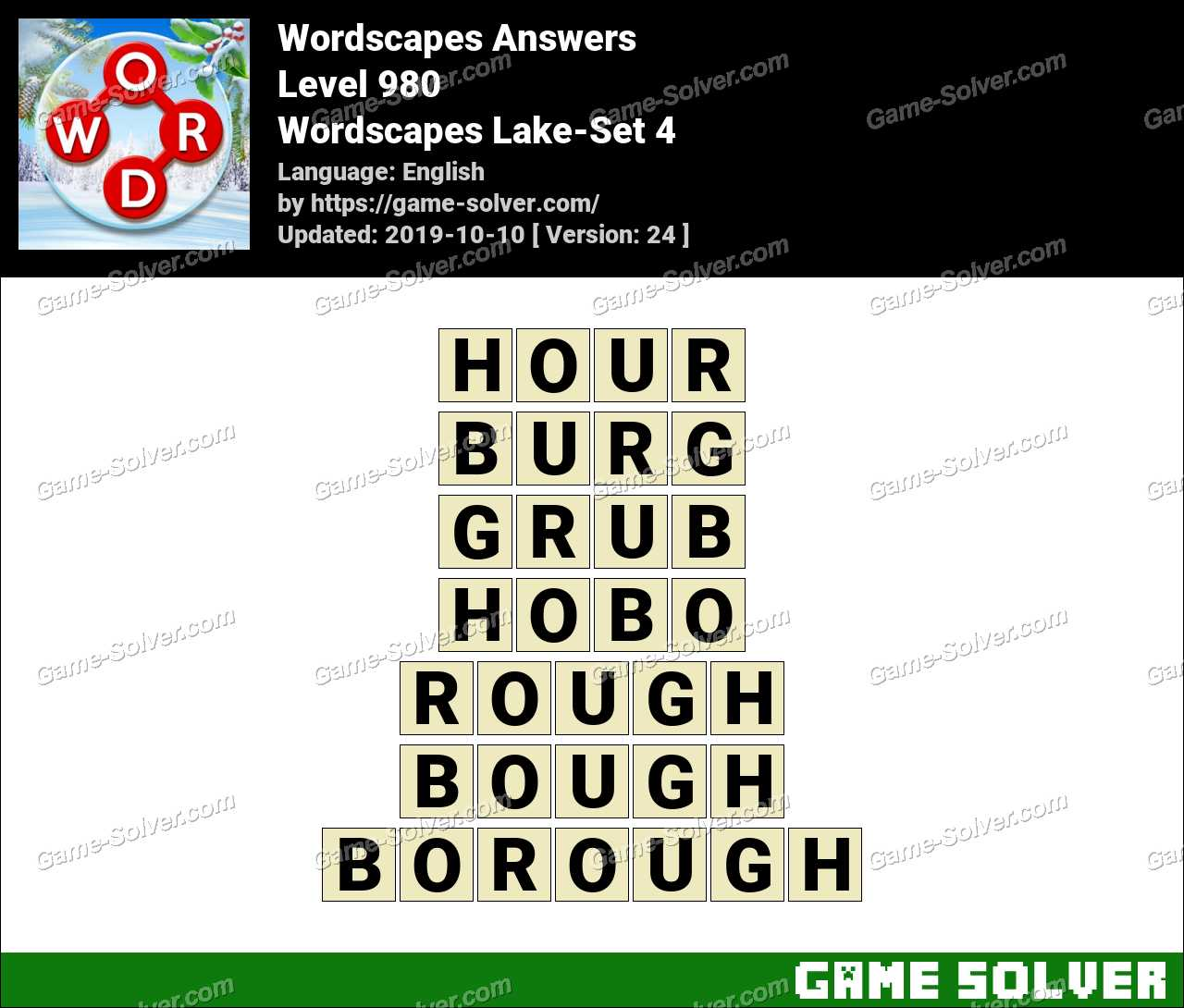 Wordscapes Lake-Set 4 Answers