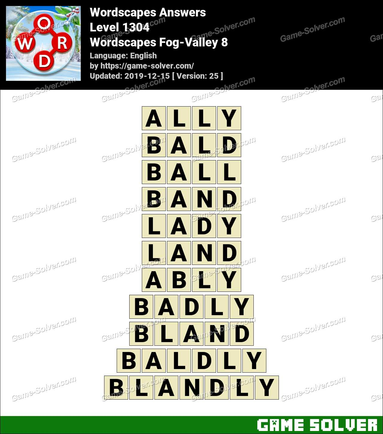 Wordscapes Fog-Valley 8 Answers