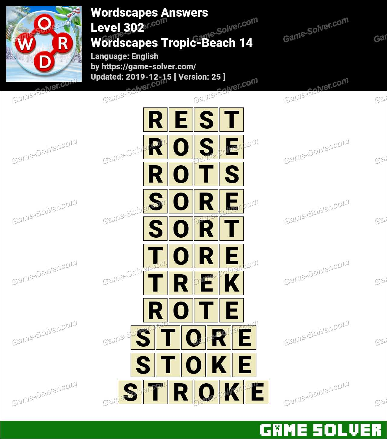 Wordscapes Tropic-Beach 14 Answers