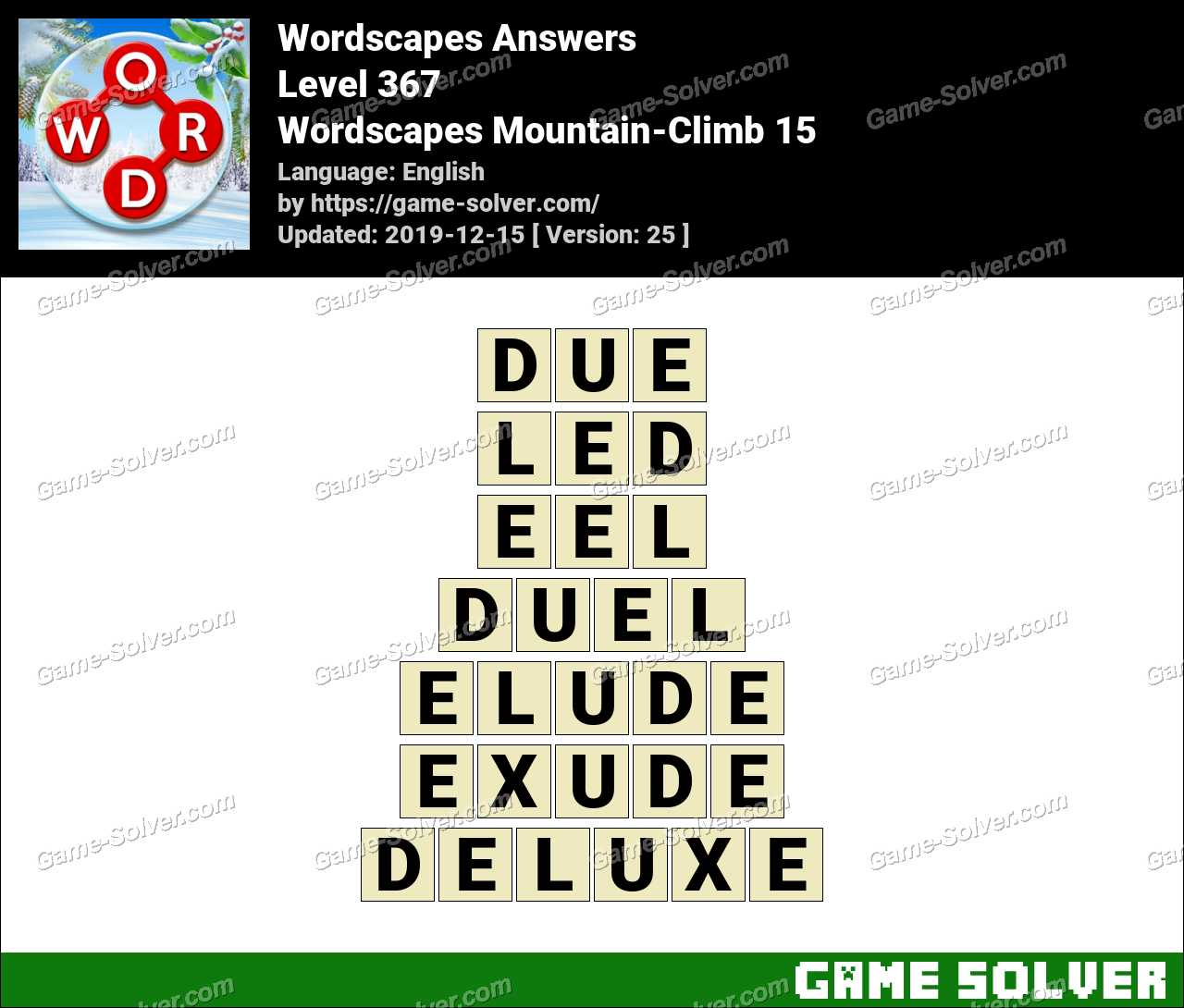Wordscapes Mountain-Climb 15 Answers