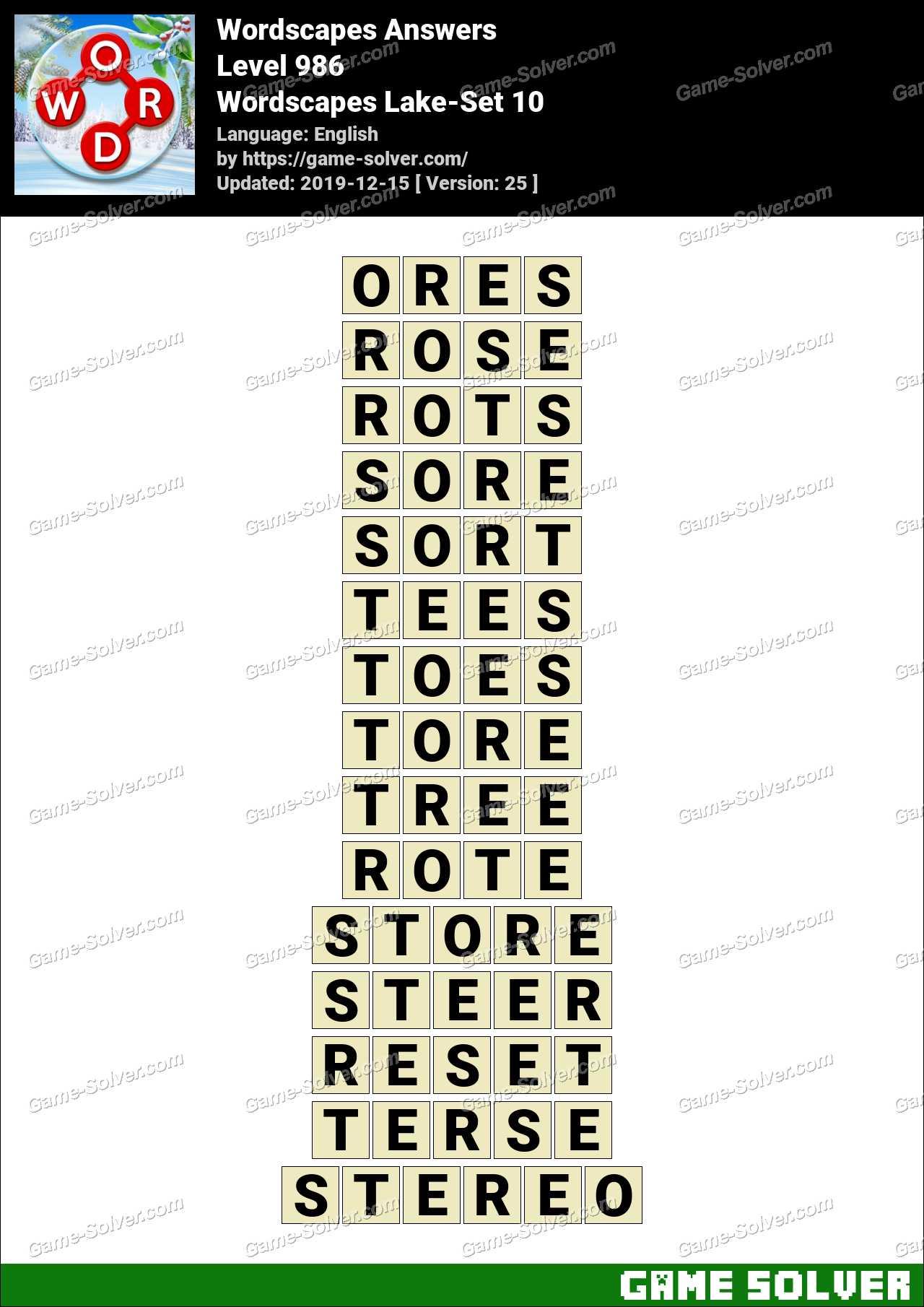 Wordscapes Lake-Set 10 Answers