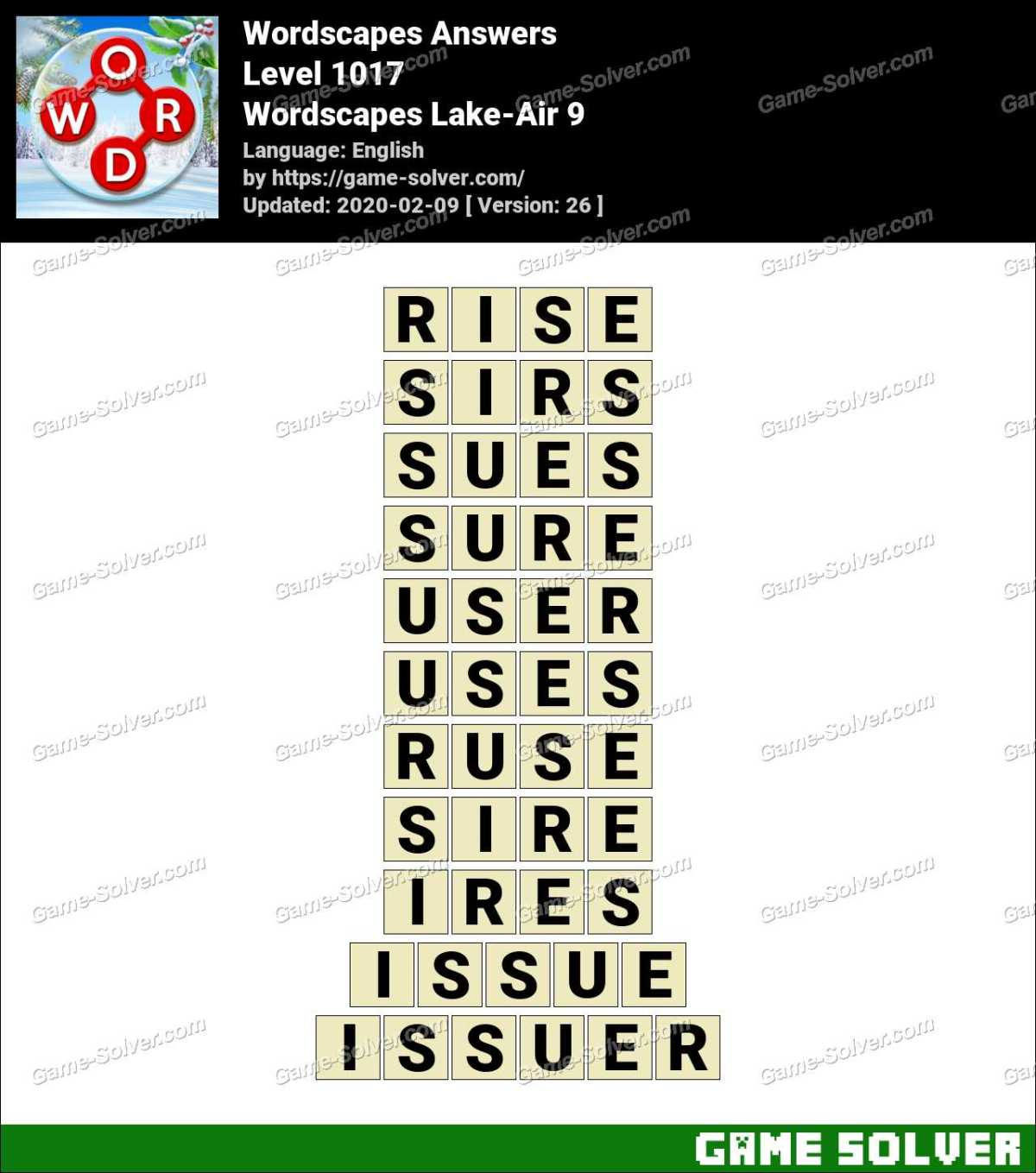 Wordscapes Lake-Air 9 Answers