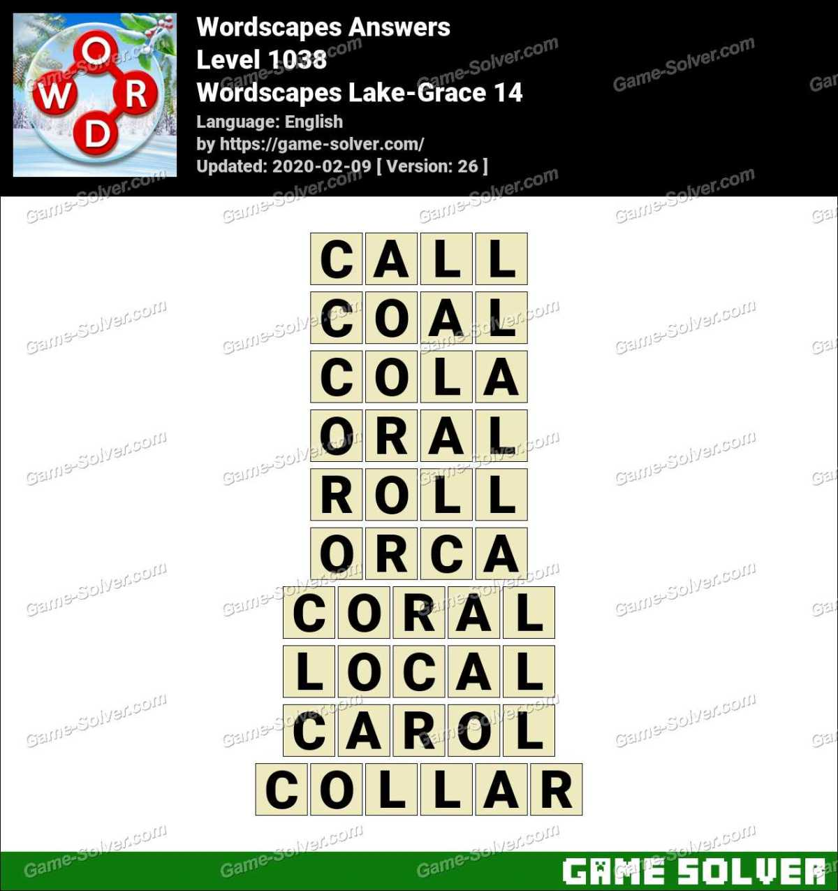Wordscapes Lake-Grace 14 Answers