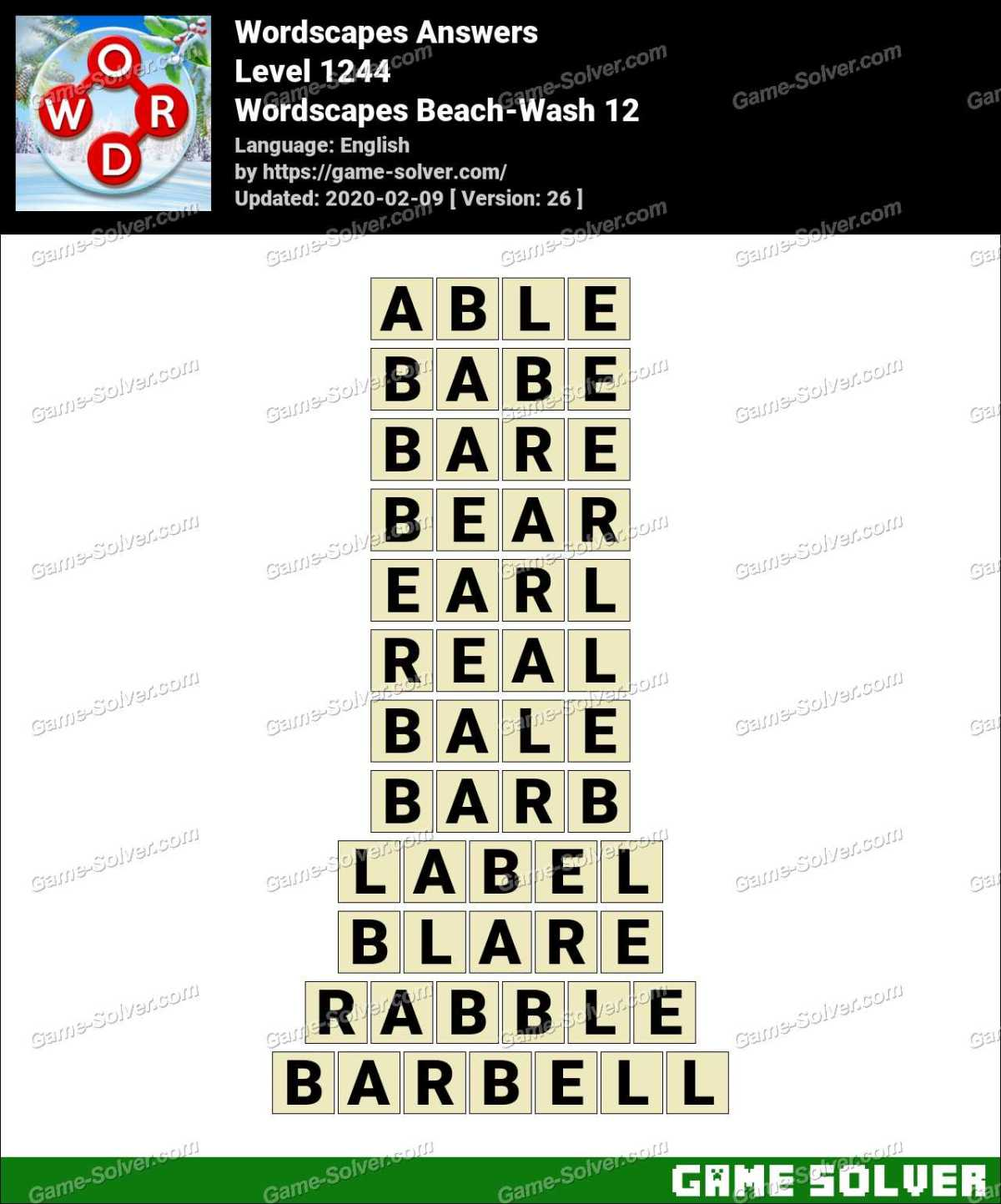 Wordscapes Beach-Wash 12 Answers